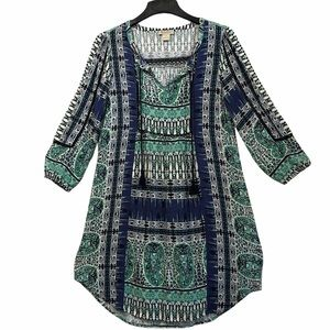 Lucky brand knit dress size small green and blue